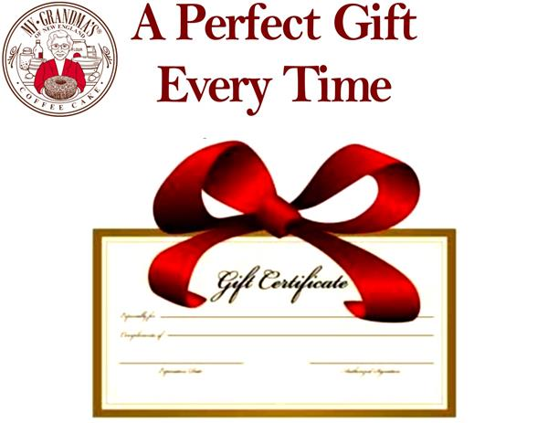 My Grandma's Gift Certificates and Cake Plans