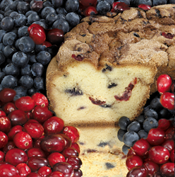 The taste of tart cranberries and sweet blueberries in one cake!